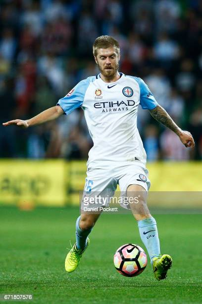 Luke Brattan of Melbourne City runs with the ball during the ALeague Elimination Final match between Melbourne City FC and the Perth Glory at AAMI...