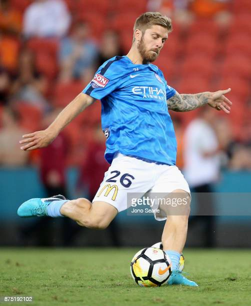 Luke Brattan of Melbourne City warms up during the round seven ALeague match between Brisbane Roar and Melbourne City at Suncorp Stadium on November...