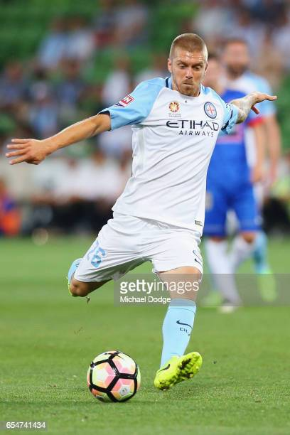 Luke Brattan of the City kicks the ball during the round 23 ALeague match between Melbourne City FC and the Newcastle Jets at AAMI Park on March 18...