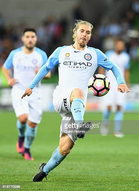 Luke Brattan of the City kicks the ball during the round four ALeague match between Melbourne City and Adelaide United at AAMI Park on October 28...