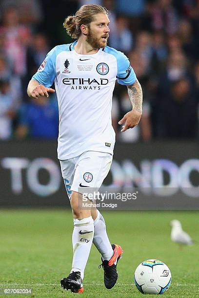 Luke Brattan of the City looks upfield during the FFA Cup Final match between Melbourne City FC and Sydney FC at AAMI Park on November 30 2016 in...