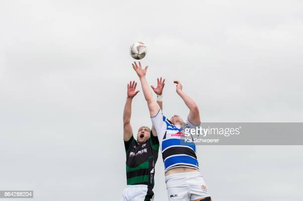 Luke Brice of South Canterbury and Campbell Hart of Wanganui compete for a lineout during the Heartland Championship Semi Final match between South...