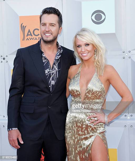 Luke Bryan and Caroline Boyer attend the 51st Academy of Country Music Awards at MGM Grand Garden Arena on April 3 2016 in Las Vegas Nevada