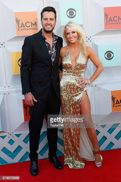 Luke Bryan and Caroline Bryan attend the 51st Academy Of Country Music Awards at MGM Grand Garden Arena on April 3 2016 in Las Vegas Nevada