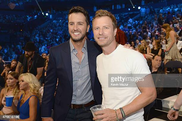 Luke Bryan and Dierks Bentley attend the 2015 CMT Music awards at the Bridgestone Arena on June 10 2015 in Nashville Tennessee