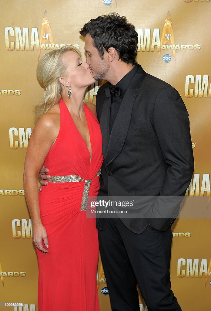 Luke Bryan and wife attend the 44th Annual CMA Awards at the Bridgestone Arena on November 10, 2010 in Nashville, Tennessee.