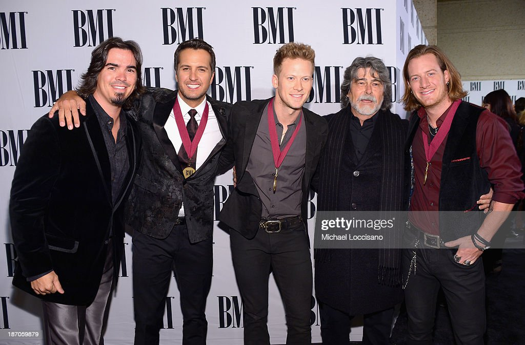 Luke Bryan, Brian Kelly, Randy Owen and Tyler Hubbard attend the 61st annual BMI Country awards on November 5, 2013 in Nashville, Tennessee.