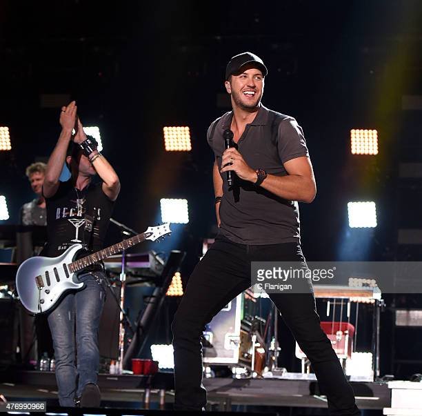 Luke Bryan performs at LP Field during the 2015 CMA Festival on June 12 2015 in Nashville Tennessee