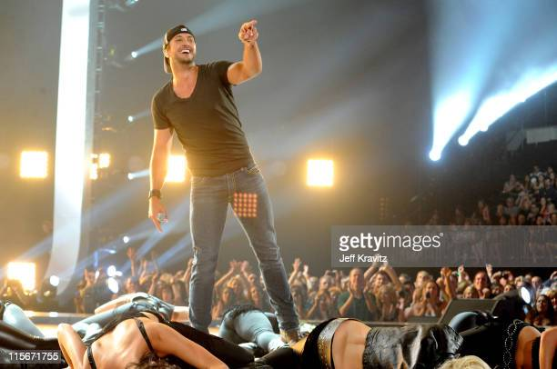 Luke Bryan performs on stage at the 2011 CMT Music Awards at the Bridgestone Arena on June 8 2011 in Nashville Tennessee