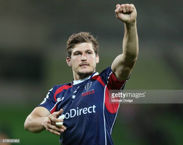 Luke Burgess of the Rebels celebrates their win during the round three Super Rugby match between the Melbourne Rebels and the Cheetahs at AAMI Park...