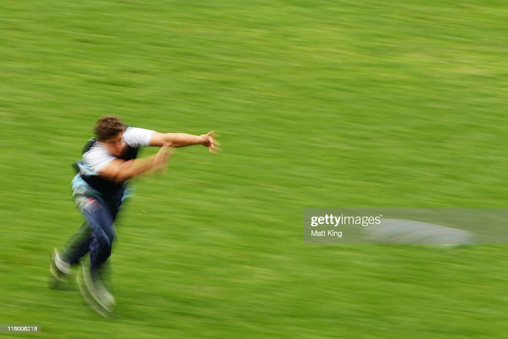 Luke Burgess passes during a Waratahs Super Rugby training session at the Sydney Football Stadium on June 14, 2011 in Sydney, Australia.