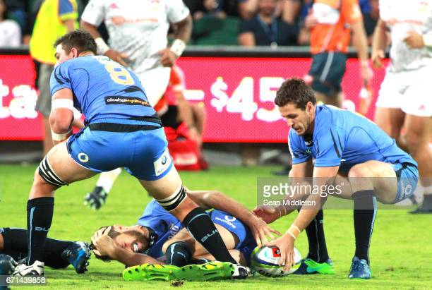 Luke Burton of Force reacts during the round nine Super Rugby match between the Force and the Chiefs at nib Stadium on April 22 2017 in Perth...