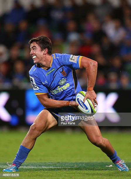Luke Burton of the Force looks to pass the ball during the round nine Super Rugby match between the Force and the Cheetahs at nib Stadium on April 11...
