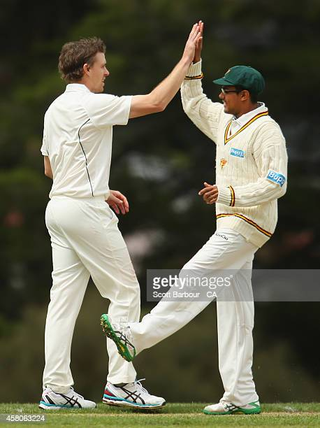 Luke Butterworth of Tasmania is congratulated by Clive Rose and his teammates after dismissing Harry Nielsen of South Australia during the Futures...