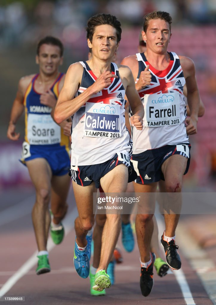 Luke Caldwell and Thomas Farrell both of Great Britain compete in the Men's 5000m Final during day three of The European Athletics U23 Championships...