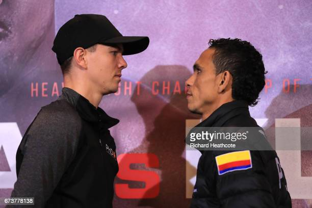 Luke Campbell and Darleys Perez pose for photos prior to their fight as Anthony Joshua and Wladamir Klitschko take part in a press conference for...