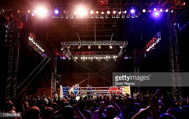 Luke Campbell enters the ring before his Lightweight bout with Andy Harris at Craven Park Stadium on July 13 2013 in Hull England