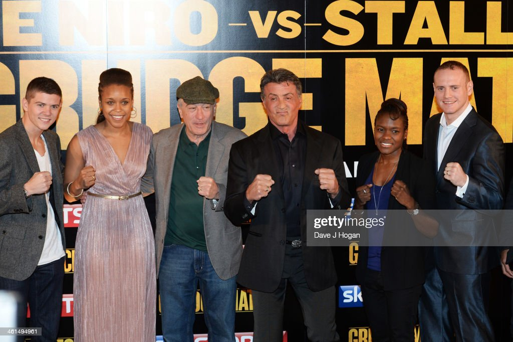 Luke Campbell, Natasha Jonas, Robert De Niro, Sylvestor Stallone, Nicola Adams and George Groves attend a photo call for 'Grudge Match' at The Dorchester Hotel on January 9, 2014 in London, England.