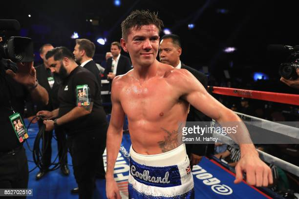Luke Campbell of Great Britain looks on after being defeated by Jorge Linares of Venezuela by decision in their WBA lightweight title bout at The...