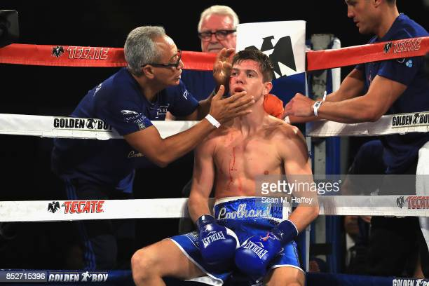Luke Campbell of Great Britain looks on from his corner during WBA lightweight title bout against Jorge Linares of Venezuela at The Forum on...
