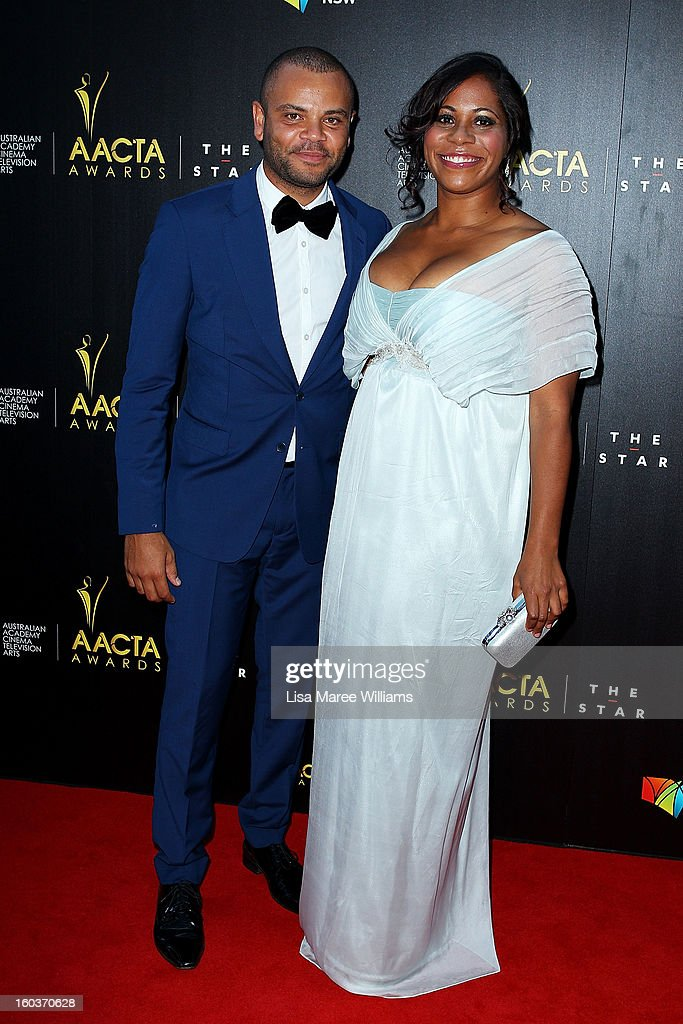 Luke Carroll and Shareena Clanton arrive at the 2nd Annual AACTA Awards at The Star on January 30, 2013 in Sydney, Australia.