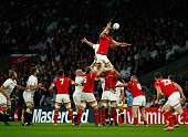 Luke Charteris of Wales win the lineout during the 2015 Rugby World Cup Pool A match between England and Wales at Twickenham Stadium on September 26...
