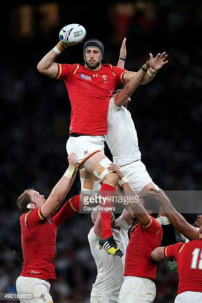 Luke Charteris of Wales wins the balll in the line out during the 2015 Rugby World Cup Pool A match between England and Wales at Twickenham Stadium...