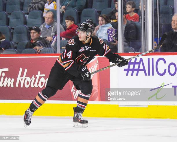 Luke Coleman of the Calgary Hitmen in action against the Brandon Wheat Kings during a WHL game at the Scotiabank Saddledome on October 8 2017 in...