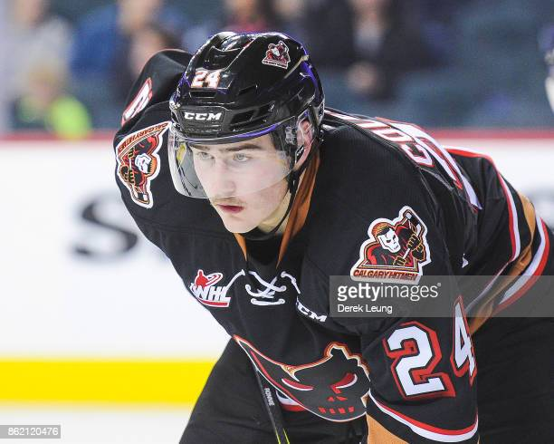 Luke Coleman of the Calgary Hitmen in action against the Lethbridge Hurricanes during a WHL game at the Scotiabank Saddledome on October 15 2017 in...