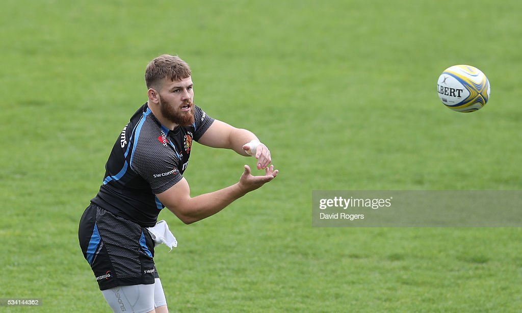 Luke Cowan-Dickie catches the ball during the Exeter Chiefs training session held at Sandy Park on May 25, 2016 in Exeter, England.