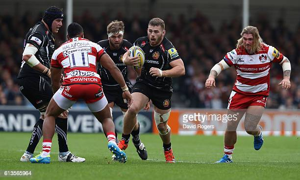 Luke CowanDickie of Exeter charges upfield during the Aviva Premiership match between Exeter Chiefs and Gloucester at Sandy Park on October 8 2016 in...