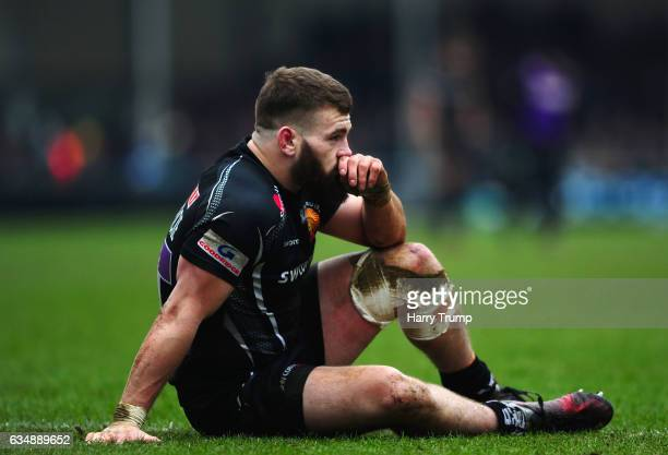Luke CowanDickie of Exeter Chiefs cuts a dejected figure during the Aviva Premiership match between Exeter Chiefs and Wasps at Sandy Park on February...
