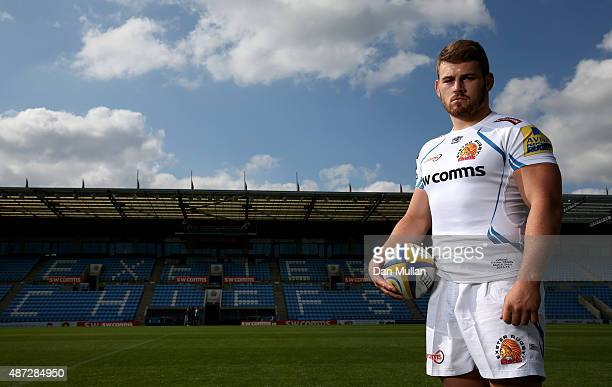 Luke CowanDickie of Exeter Chiefs poses during the photocall at Sandy Park on September 8 2015 in Exeter England