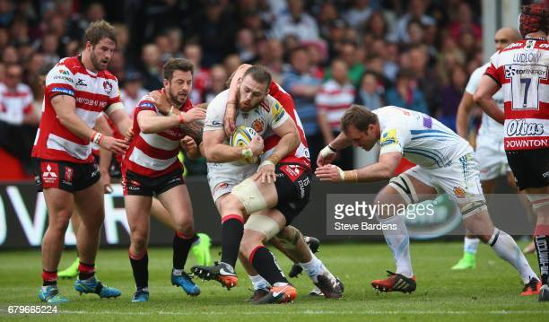 Luke CowanDickie of Exeter Chiefs takes on the Gloucester Rugby defence during the Aviva Premiership match between Gloucester Rugby and Exeter Chiefs...