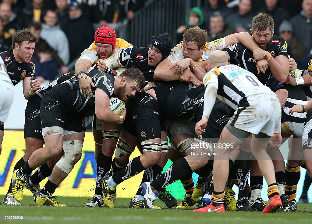Luke Cowan-Dickie of Exeter keeps hold of the ball in the rolling maul during the Aviva Premiership match between Exeter Chiefs and Wasps at Sandy Park on May 1, 2016 in Exeter, England.
