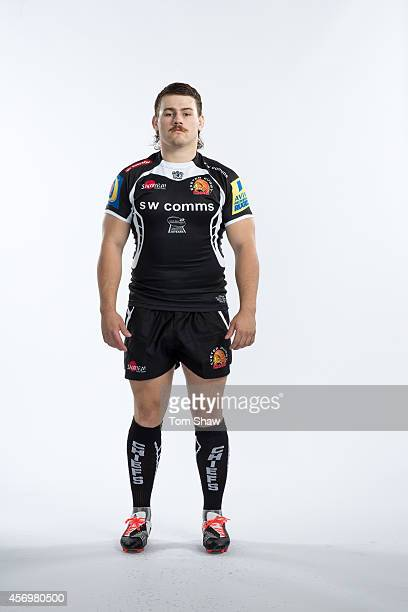 Luke CowenDickie of Exeter Chiefs poses for a picture during the BT Photo Shoot at Sandy Park on August 26 2014 in Exeter England
