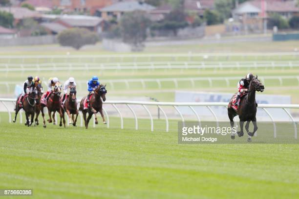 Luke Currie riding Darabad leads the field by a big margin before unplaced finish in Race 3 Ladbrokes Sandown Cup during Melbourne Racing at Sandown...