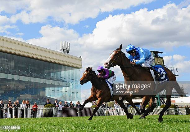 Luke Currie riding Don't Doubt Mamma defeats Michael Walker riding Sacred Eye in Race 5 during Melbourne Racing at Caulfield Racecourse on September...