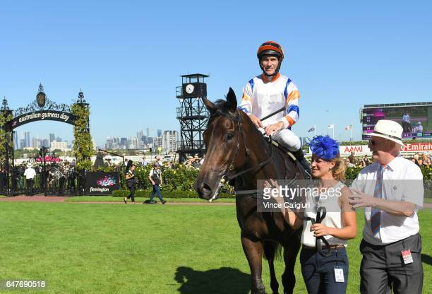 Luke Currie riding Hey Doc after winning Race 7 Australian Guineas during Melbourne Racing at Flemington Racecourse on March 4 2017 in Melbourne...