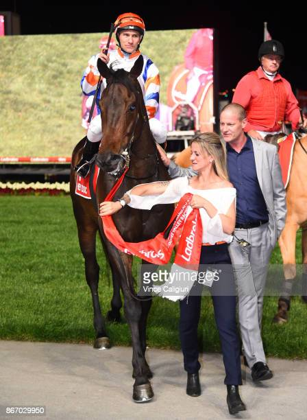 Luke Currie riding Hey Doc after winning Race 7 Ladbrokes Manikato Stakes during Manikato Stakes Night at Moonee Valley Racecourse on October 27 2017...