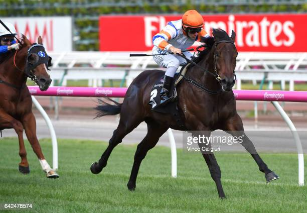 Luke Currie riding Hey Doc wins Race 6 CS Hayes Stakes during Melbourne Racing at Flemington Racecourse on February 18 2017 in Melbourne Australia