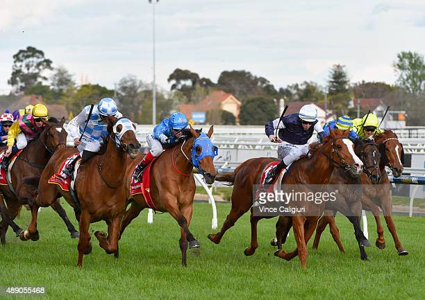 Luke Currie riding Magnapal defeats Damian Lane riding The United States in Race 8 MRC Foundation Cup during Melbourne Racing at Caulfield Racecourse...