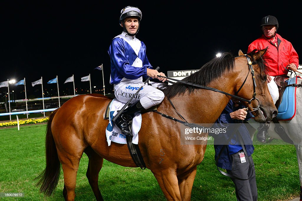 Luke Currie riding Sea Lord after winning the Essendon Mazda Australia Stakes during Melbourne racing at Moonee Valley Racecourse on January 25, 2013 in Melbourne, Australia.
