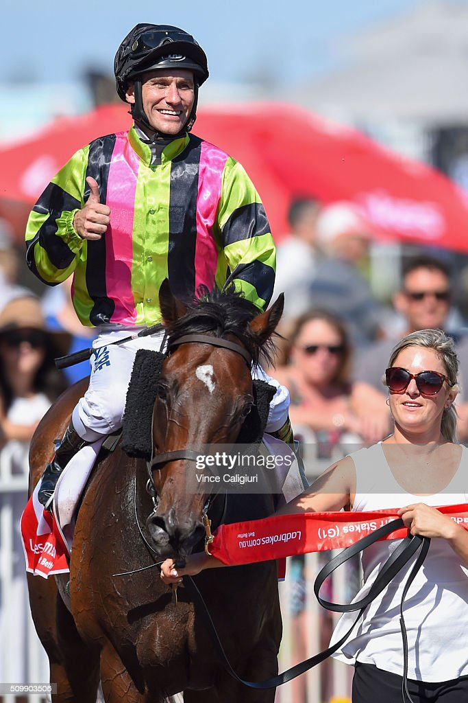 Luke Currie riding Suavito after winning Race 7, the C.F.Orr Stakes during Melbourne Racing at Caulfield Racecourse on February 13, 2016 in Melbourne, Australia.