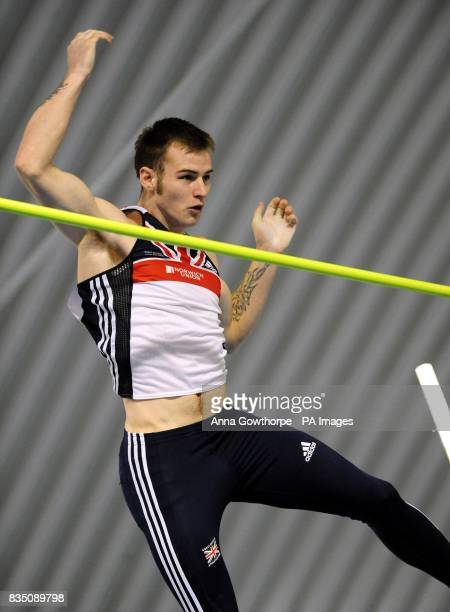 Luke Cutts in action in the Men's Pole Vault during Aviva European Trials and UK Championships at the English Institute of Sport Sheffiled