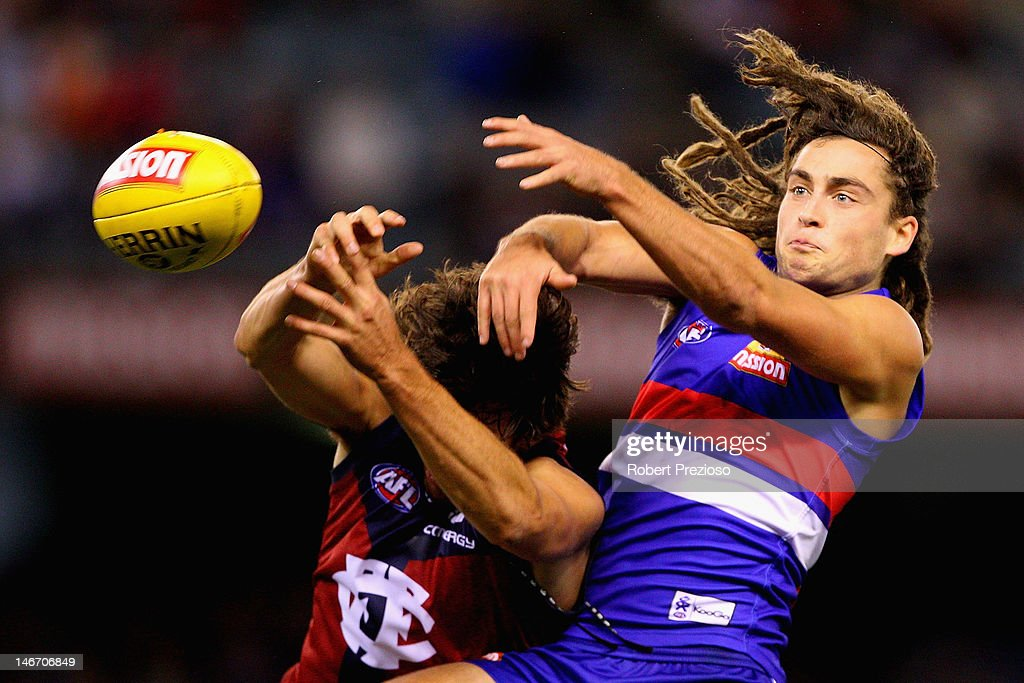 Luke Dahlhaus of the Bulldogs contests the ball during the round 13 AFL match between the Western Bulldogs and the Brisbane Lions at Etihad Stadium on June 23, 2012 in Melbourne, Australia.