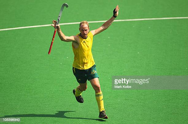Luke Doerner of Australia celebrates scoring a goal during the Men's Gold medal match between Australia and India at the Major Dhyan Chand National...