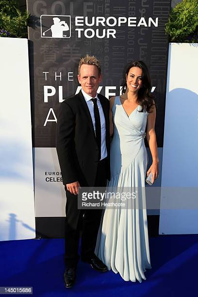 Luke Donald and wife Diane arrive at the European Tour Golfer of the Year Awards dinner at the Sofitel Hotel London Heathrow on May 22 2012 in London...