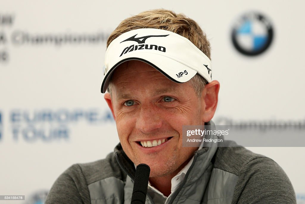 Luke Donald of England answers questions at a press conference during the Pro-Am prior to the BMW PGA Championship at Wentworth on May 25, 2016 in Virginia Water, England.