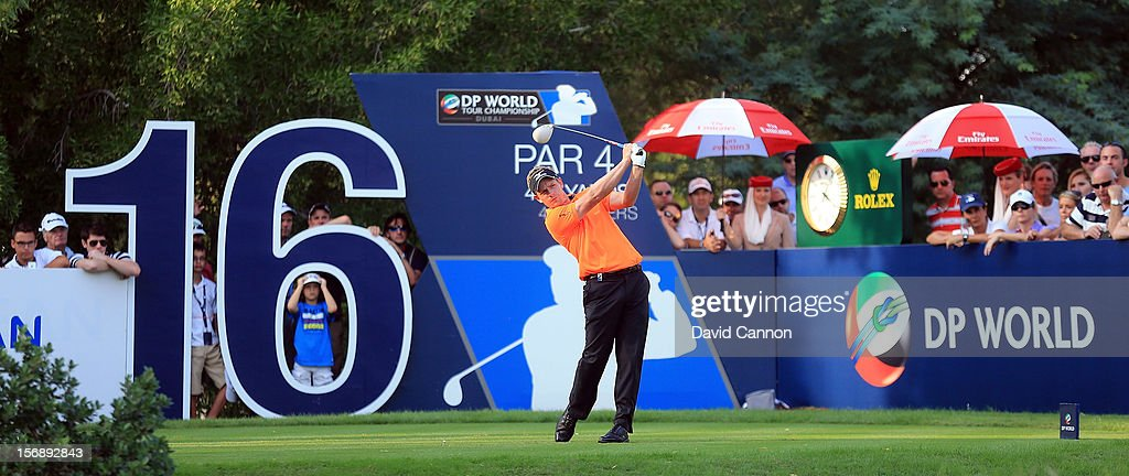 <a gi-track='captionPersonalityLinkClicked' href=/galleries/search?phrase=Luke+Donald&family=editorial&specificpeople=194977 ng-click='$event.stopPropagation()'>Luke Donald</a> of England driving at the par 4, 16th hole during the third round of the 2012 DP World Tour Championship on the Earth Course at Jumeirah Golf Estates on November 24, 2012 in Dubai, United Arab Emirates.